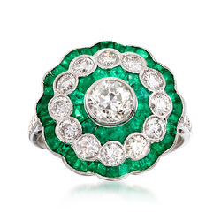 C. 1990 Vintage 1.66 ct. t.w. Emerald and 1.50 ct. t.w. Diamond Cluster Ring in 18kt White Gold, , default
