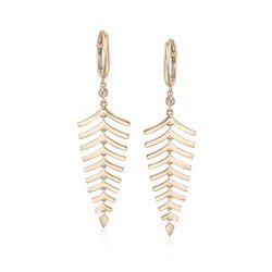 Roberto Coin 18kt Yellow Gold Leaf Earrings With Diamond Accents, , default