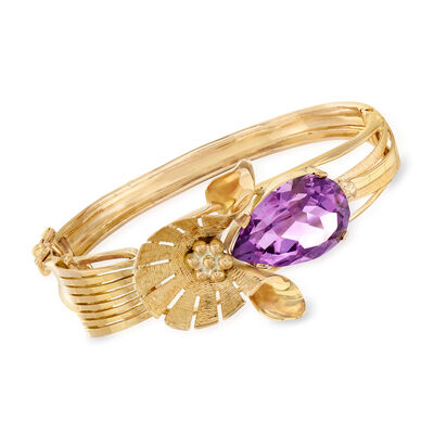 C. 1960 Vintage 16.00 Carat Amethyst Flower Bangle Bracelet in 14kt Yellow Gold, , default