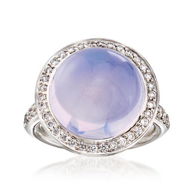 C. 2000 Vintage Mimi Milano Lavender Chalcedony and .55 ct. t.w. Diamond Ring in 18kt White Gold