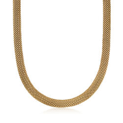 C. 1990 Vintage Tiffany Jewelry 18kt Yellow Gold Mesh Necklace, , default