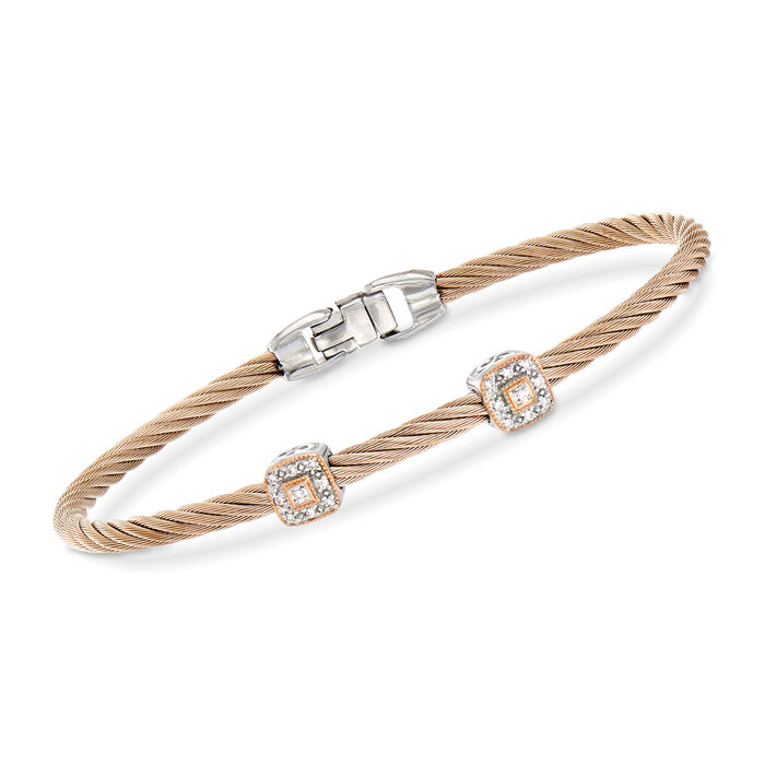 """ALOR """"Shades of Alor"""" Rose Stainless Steel Cable Station Bracelet with Diamond Accents and 18kt Two-Tone Gold. 7"""""""