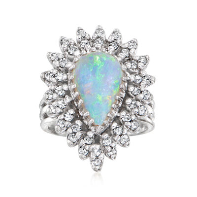 C. 1970 Vintage Opal and .60 ct. t.w. Diamond Ring in 14kt White Gold