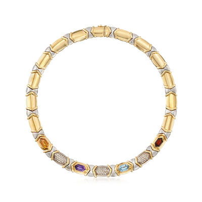 C. 1980 Vintage 9.50 ct. t.w. Multi-Stone and 1.00 ct. t.w. Diamond Necklace in 14kt Two-Tone Gold