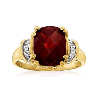 C. 1970 Vintage 4.20 Carat Garnet Ring with Diamond Accents in 10kt Yellow Gold