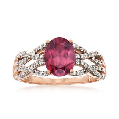 C. 1980 Vintage 3.25 ct. t.w. Red and White Zircon Ring in 10kt Rose Gold