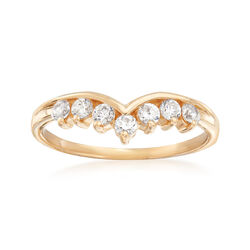 C. 1990 Vintage .42 ct. t.w. CZ V-Shaped Ring in 14kt Yellow Gold, , default