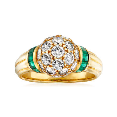 C. 1990 Vintage 2.05 ct. t.w. Diamond and .50 ct. t.w. Emerald Ring in 18kt Yellow Gold, , default