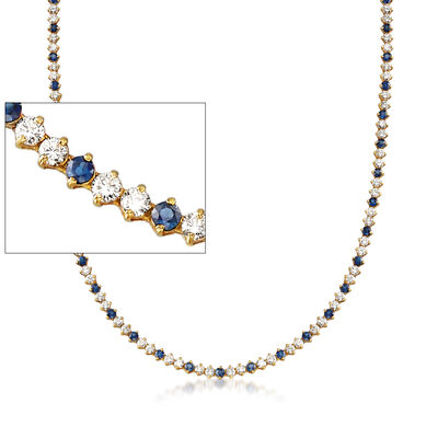 C. 1990 Vintage 8.00 ct. t.w. Diamond and 5.00 ct. t.w. Sapphire Tennis Necklace in 18kt Yellow Gold