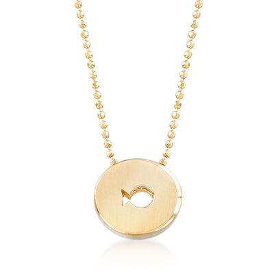 "C. 2000 Vintage Alex Woo ""Disney Pixar's Finding Dory"" Dory Fish Cutout Disc Necklace in 14kt Yellow Gold, , default"