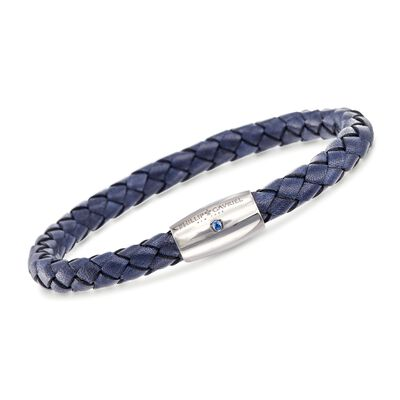 "Phillip Gavriel ""Woven Silver"" Men's Blue Leather Bracelet with Sapphire Accent in Sterling Silver"