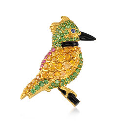 C. 1990 Vintage 9.62 ct. t.w. Mixed-Stone and Black Onyx Bird Pin in 18kt Yellow Gold, , default