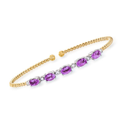 Gabriel Designs 2.00 ct. t.w. Amethyst and .21 ct. t.w. Diamond Cuff Bracelet in 14kt Two-Tone Gold