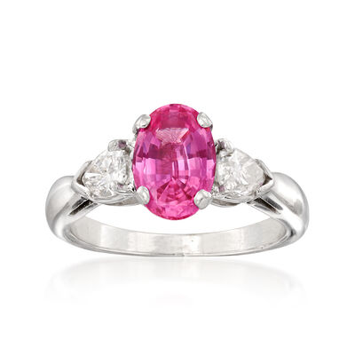 C. 2000. Vintage 1.61 Carat Pink Sapphire and .70 ct. t.w. Diamond Ring in Platinum, , default