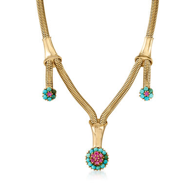 C. 1950 Vintage Turquoise and 1.35 ct. t.w. Ruby Floral Necklace in 14kt Yellow Gold