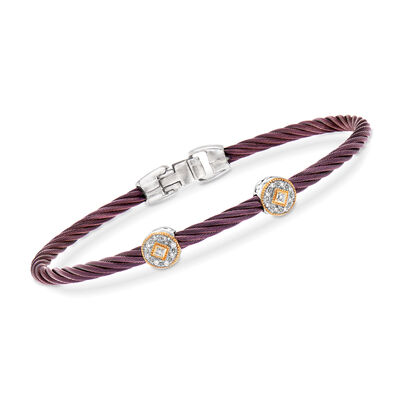 "ALOR ""Shades of Alor"" Burgundy Carnation Cable Station Bracelet with Diamond Accents in Stainless Steel and 18kt Yellow and White Gold"