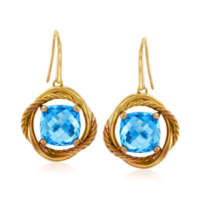 C. 1980 Vintage David Yurman 9.20 Carat Blue Topaz Drop Earrings in 18kt Yellow Gold