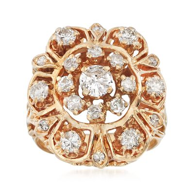 C. 1970 Vintage 1.25 ct. t.w. Diamond Cluster Cocktail Ring in 14kt Yellow Gold, , default