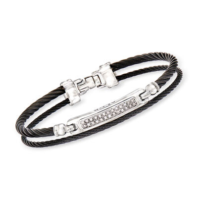 "ALOR ""Noir"" .13 ct. t.w. Diamond Black Stainless Steel Cable Bracelet with 18kt White Gold, , default"