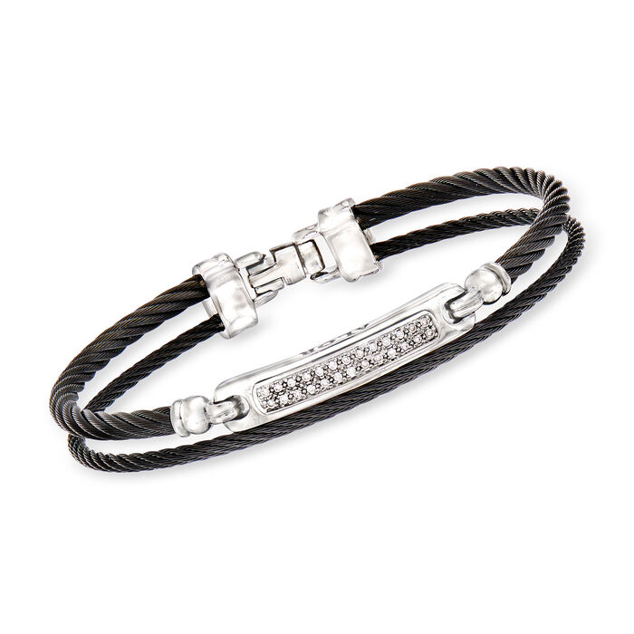 """ALOR """"Noir"""" .13 ct. t.w. Diamond Black Stainless Steel Cable Bracelet with 18kt White Gold. 7"""""""