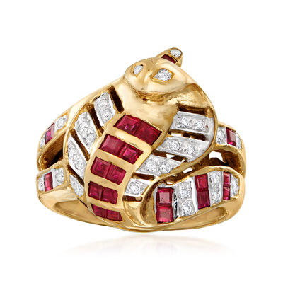 C. 1980 Vintage 1.06 ct. t.w. Ruby and .20 ct. t.w. Diamond Snake Ring in 18kt Yellow Gold, , default