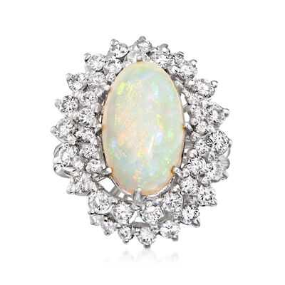 C. 1970 Vintage Opal and 1.75 ct. t.w. Diamond Cocktail Ring in 18kt White Gold