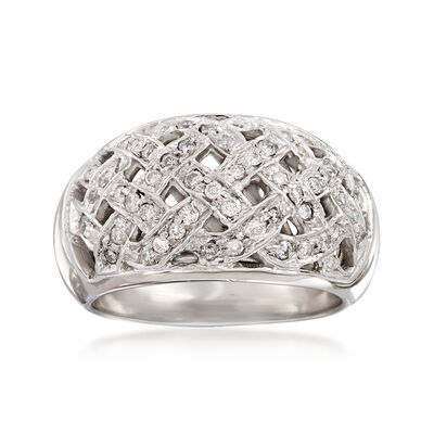 C. 1990 .60 ct. t.w. Diamond Basketweave Ring in 14kt White Gold, , default