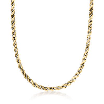 C. 1990 Vintage 14kt Two-Tone Gold Twisted Chain Necklace