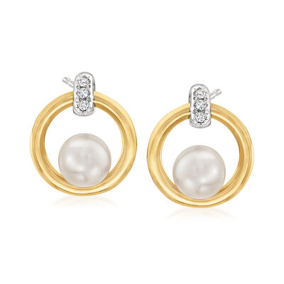 Mikimoto 5.5mm A+ Akoya Pearl Circle Earrings with Diamond Accents in 18kt Two-Tone Gold