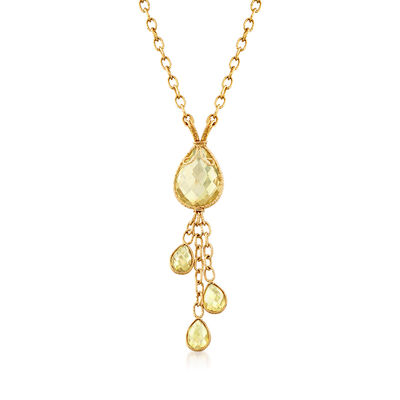 C. 1990 Vintage 14.40 ct. t.w. Lemon Quartz Drop Necklace in 14kt Yellow Gold