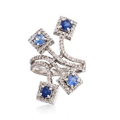 C. 2000 Vintage 1.40 ct. t.w. Sapphire and 1.00 ct. t.w. Diamond Spray Ring in 18kt White Gold, , default