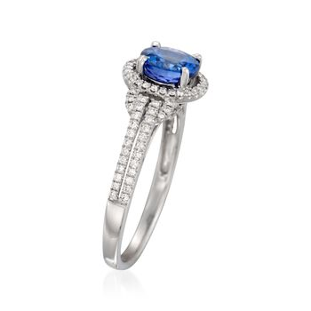 Simon G. 1.00 Carat Tanzanite and .30 ct. t.w. Diamond Ring in 18kt White Gold, , default