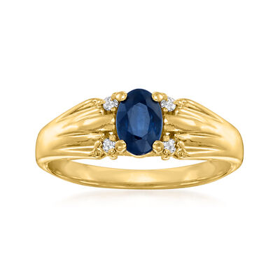 C. 1980 Vintage .75 Carat Sapphire Ring with Diamond Accents in 14kt Yellow Gold