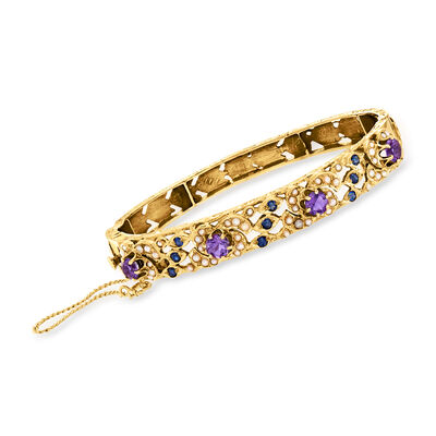 C. 1970 Vintage 2.00 ct. t.w. Amethyst and .45 ct. t.w. Sapphire Bangle Bracelet with Seed Pearls in 14kt Yellow Gold