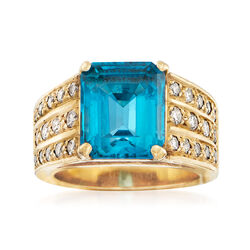 C. 1960 Vintage 5.60 Carat Blue Topaz and .65 ct. t.w. Diamond Ring in 14kt Yellow Gold, , default