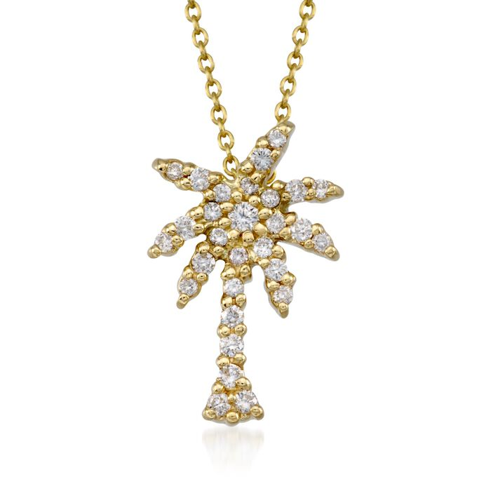 "Roberto Coin ""Tiny Treasures"" .17 ct. t.w. Diamond Palm Tree Pendant Necklace in 18kt Yellow Gold"