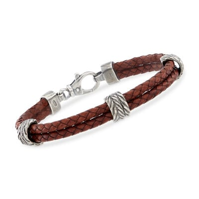 Phillip Gavriel Men's Brown Leather Station Bracelet with Sterling Silver, , default