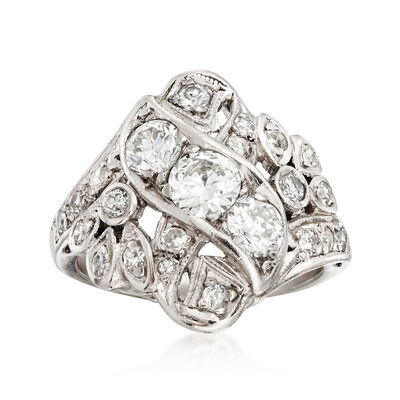 C. 1980 Vintage 1.50 ct. t.w. Diamond Cocktail Ring in Platinum