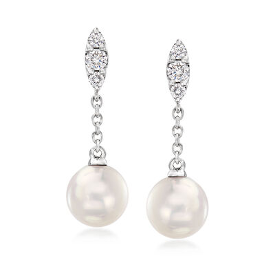 "Mikimoto ""Morning Dew"" 7mm A+ Akoya Pearl and .19 ct. t.w. Diamond Drop Earrings in 18kt White Gold"