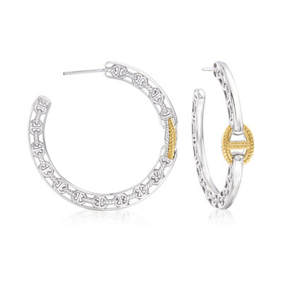 """Judith Ripka """"Vienna"""" Sterling Silver and 18kt Yellow Gold Hoop Earrings"""