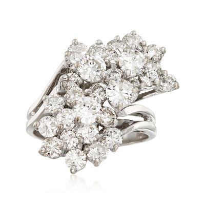 C. 1980 Vintage 4.00 ct. t.w. Diamond Cluster Ring in 14kt White Gold