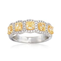 Henri Daussi 1.60 ct. t.w. Yellow and White Diamond Ring in 18kt White Gold, , default