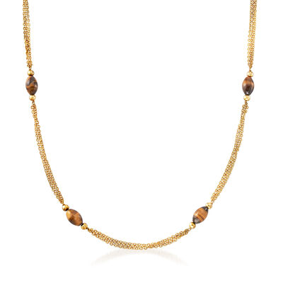 C. 1970 Vintage 14x9mm Tiger's Eye Beaded Necklace in 18kt Yellow Gold, , default