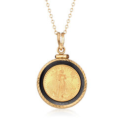C. 2000 Onyx Liberty Coin Pendant Necklace in 14kt Yellow Gold , , default