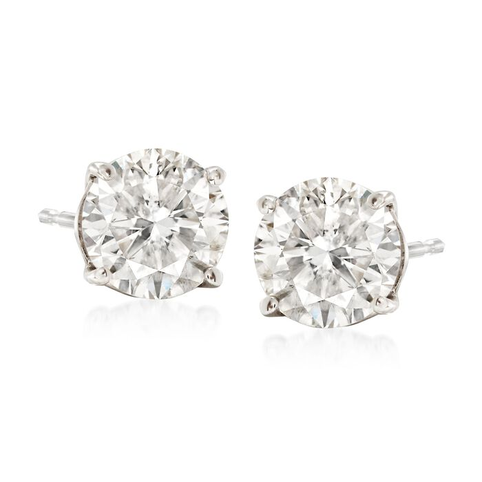 2.00 Carat Total Weight Diamond Studs in 14-Karat White Gold, , default