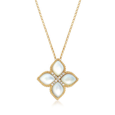 "Roberto Coin ""Venetian Princess"" Mother-Of-Pearl Floral Pendant Necklace with Diamond Accents in 18kt Gold"