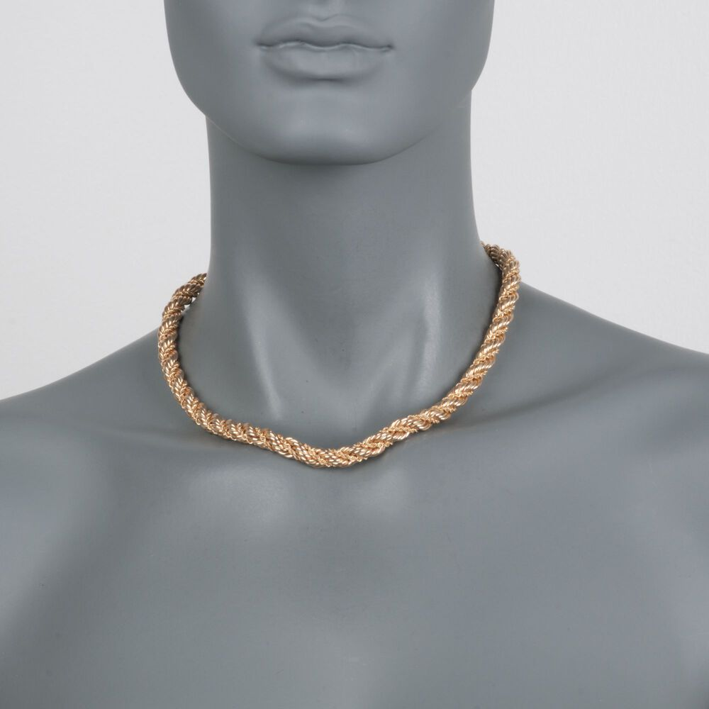 58ce6c942b7d0 Gift Box Image C. 1990 Vintage Tiffany Jewelry 14kt Yellow Gold Twisted  Rope Necklace.
