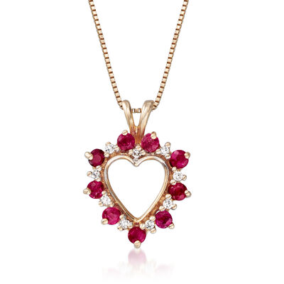 C. 1980 Vintage .65 ct. t.w. Ruby Heart Pendant Necklace with Diamond Accents in 14kt Yellow Gold, , default