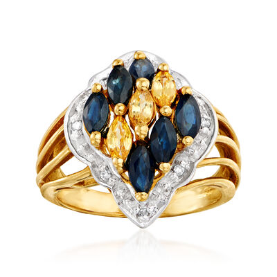 C. 1980 Vintage 1.35 ct. t.w. Blue and Yellow Sapphire Ring with Diamond Accents in 10kt Yellow Gold, , default