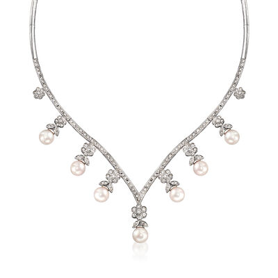 C. 1990 Vintage 8x8.5mm Cultured Pearl and 3.00 ct. t.w. Diamond V-Shaped Necklace in 18kt White Gold, , default